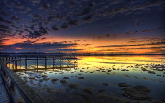 вечер, pier, озеро