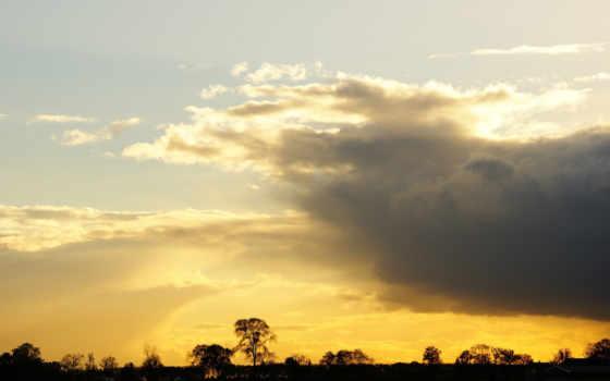 закат, небо, gold