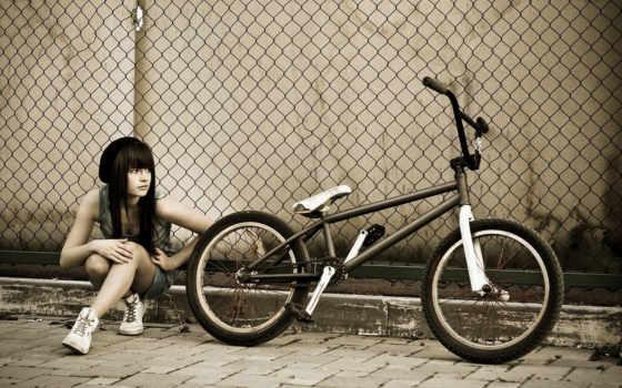 велосипед, девушка, забор