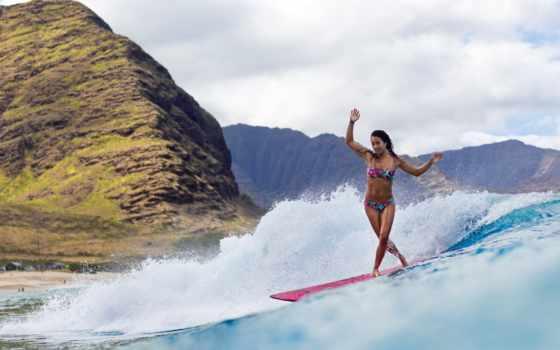 сёрфинг, девушка, доска Фон № 79088 разрешение 2407x1662