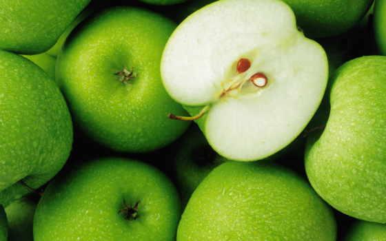 яблоки, зеленые, лежит, красивые, девушка, траве, яблок,