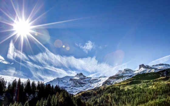 sun, природа, rays, mountains, лес, гора,