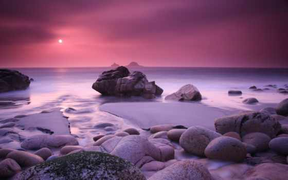 море, закат, камни