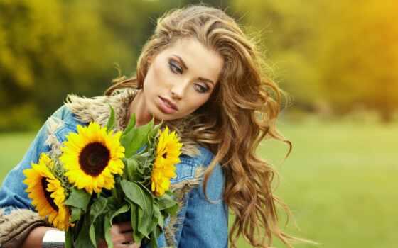подсолнух, девушка, фон, blonde, размытость, цветы, качественные, красивый, фото