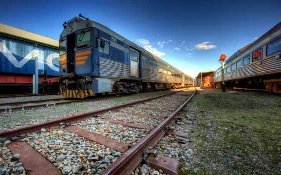 поезд, железный, depot