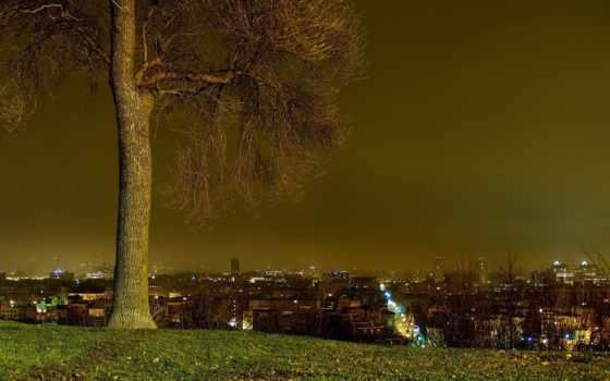 город, взгляд, виды, города, банка, холма, панорама, панорамные, ночных, ночного,