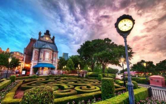 disney, world, walt, города, закат, картинка,