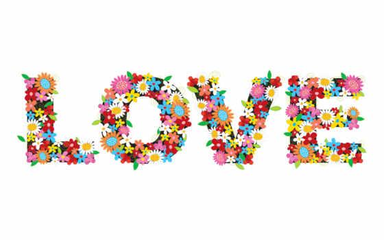 буквы, цветы, слово