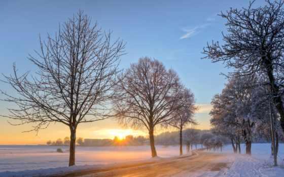 winter, sun, рассвет