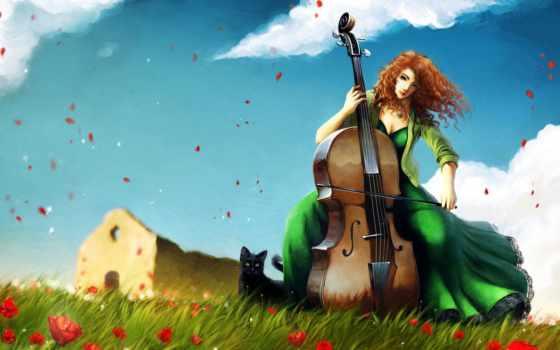 девушка, виолончель, играет, виолончели, devushki, музыка, банка,