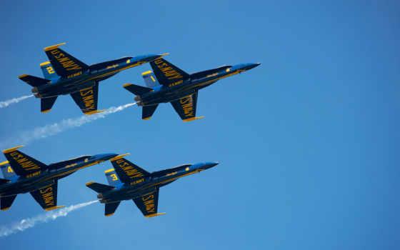 группа, blue, angels, пилотажная, голубые, неба, голубого, самолетов, ангелы,