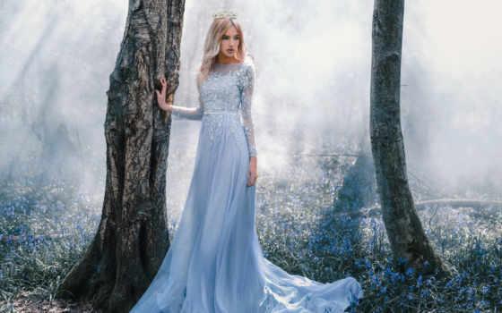 платье, девушка, лес, trees, волосы, сказочно, winter, лесу, cvety, фея,
