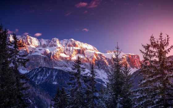 закат, winter, снег, pin, ski, песнь, гора, discover, лес, chalet