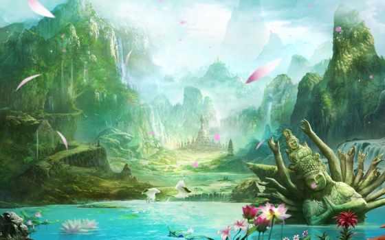 landscape, храм, lotus, горы, озеро, пейзажи -, фэнтези, лепестки, журавли, водопады, art,