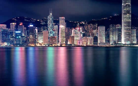 город, ночь, фотопанно