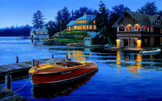 дома, картинка, причал, house, финляндии, лодка, купить,
