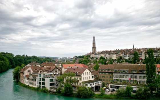 берн, город, swiss, швейцария, города, швейцарии, медведи, взгляд,