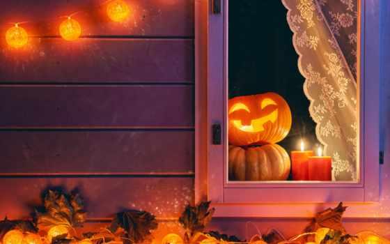 свечи, тыква, картинка, праздники, halloween, ночь, garland, листва, праздник,