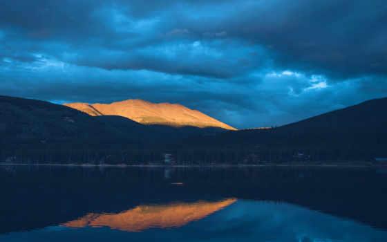 озеро, гора, free, закат, mountains, фото, природа,