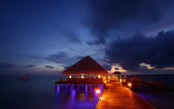 maldives, kanuhura, вечер, resort, море, бунгало, закат, tropics, ocean,