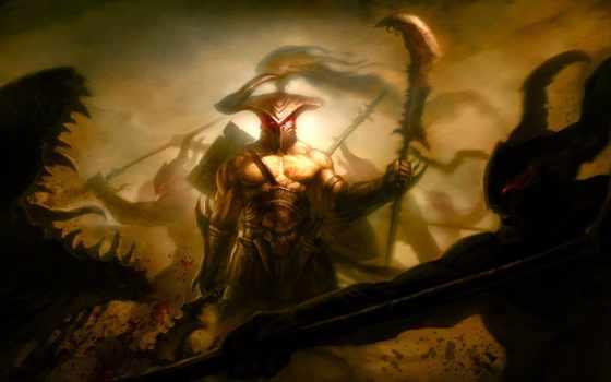 art, воин, монстры, битва, кровь, пасть, оружие, monster, меч, рога,