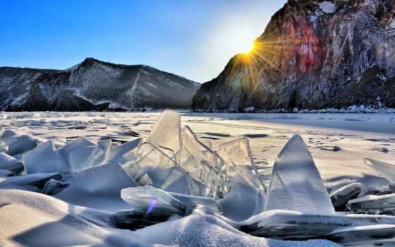 снег, горы, озеро, байкал, sun, картинка, winter, лед,