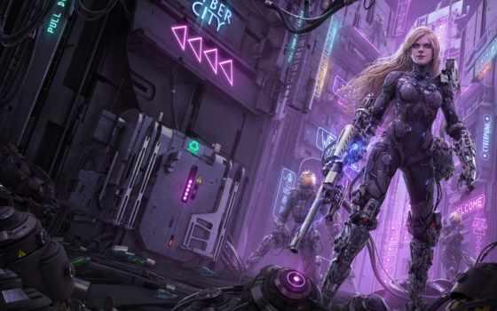 cyberpunk, рисунок, характер, art, fantasy, game, conceptual