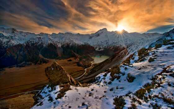 гора, восход, mac, природа, снег, пляж, облако, nieve, amanec