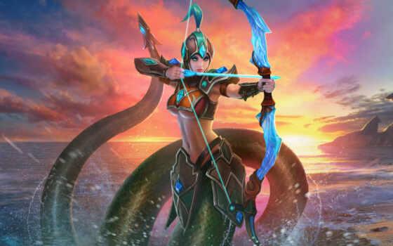 juggernaut, war, game, kertana, нага, archer, лук, существо, море, закат, арка