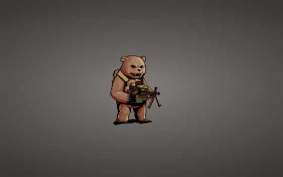 минимализм, медведь, пулемет