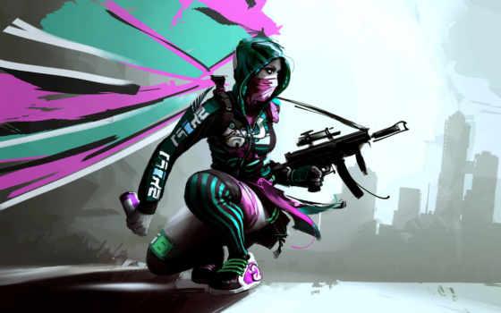 девушка, оружие, рисованные, graffiti, рисующая,
