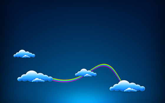минимализм, blue, картинка, радуга, oblaka,