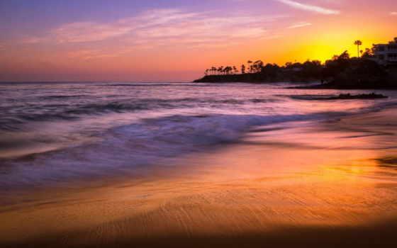 пляж, laguna, heisler, park, закат,