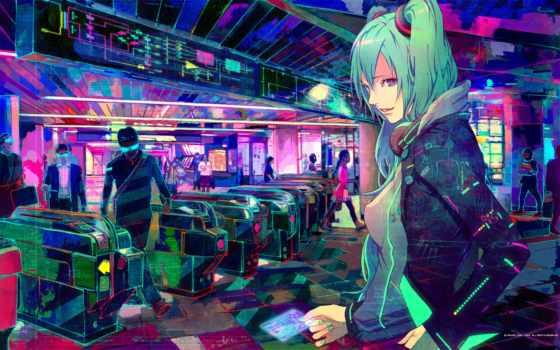 cyberpunk, miku, vocaloid