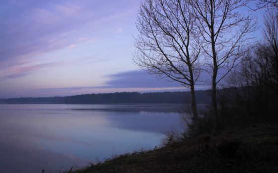 озеро, дерево, nature, утро, туман, river, склон, waterscapes, waterscape, свежесть,