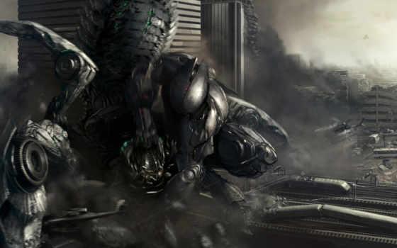 робот, город, фантастика, атака, выстрелы, разрушение, вертолеты, военные, ruins, futuristic, робота, картинка, artwork,