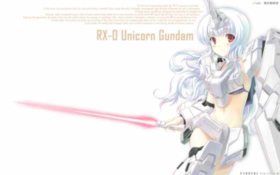 unicorn, gundam, mecha, red, girl, blush, tags, hair, horns, long,