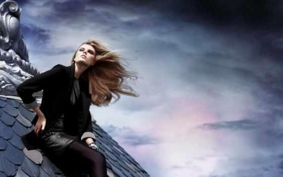 девушки, крыше, страница