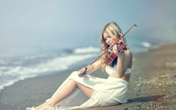 скрипачка, музыка, берег