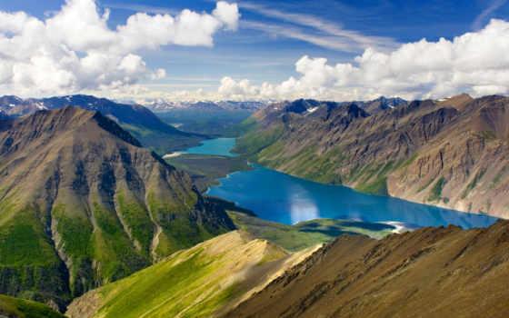 горы, красивые, озеро, природа, канадский, самые, планеты, места, kathleen, yukon,