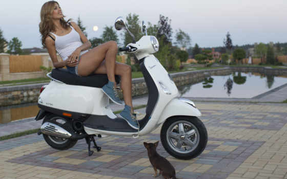 девушка, скутере, devushki, мотоциклами, мотороллер, банка, love,