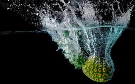 pineapple, water, брызги