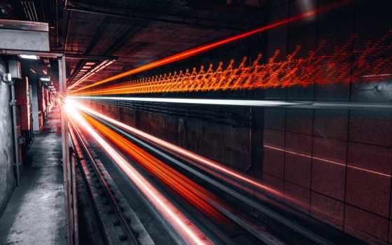 поезд, time, дорога, под, туннель, timelapse, свет, серый, red, anne
