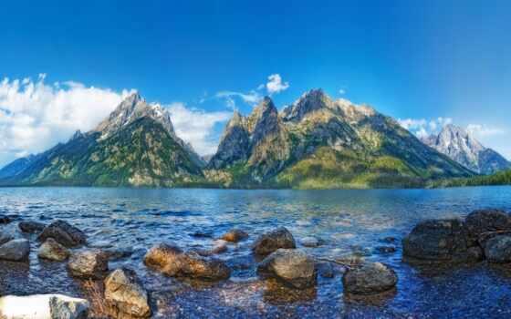 гора, природа, небо, landscape, teton, grand, park, облако, national, красивый, фотопечать