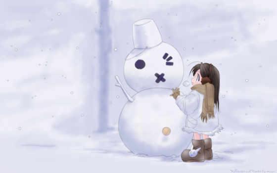 снеговик, девочка