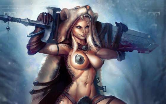 девушка, воин, меч