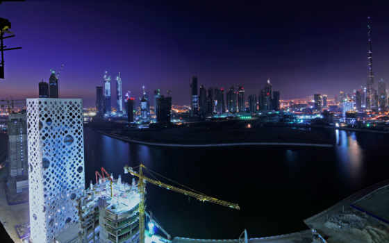 dubai, buildings, ночь