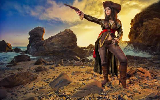 девушка, пиратка, оружие, хо, пляж, devushki, cosplay, рисунки, пиратки,