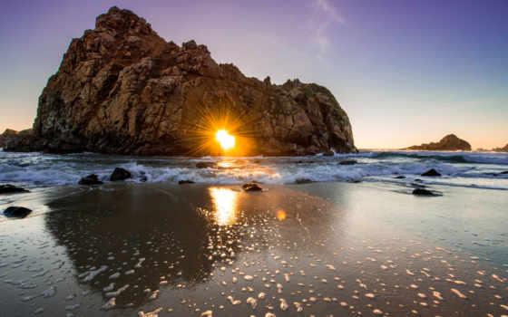 sun, мб, скалы, арке, природа, высокого, моря, svoya, разрешения,