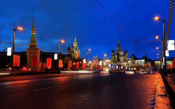 russian, москва, город, ночь, дороги, москворецкий, большой, мосты, столица, установленные,